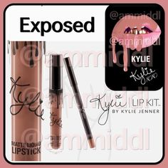 COMING SOONKylie Lip KitExposedBNIB NO TRADESPRICE WILL BE FIRM @$50 (when becomes available in about a week)   Exposed is a light cool toned nude.  Contains:  1Matte Liquid Lipstick (0.11 fl oz./oz. liq / 3.25 ml) 1Pencil Lip Liner (net wt./ poids net  .03 oz/ 1.0g)  The ultra-long wearing lip liner has a creamy texture that glides across the lips for a very easy and comfortable application.  The extremely long wearing Liquid Matte Lipstick has high intensity pigment for an instant bold…