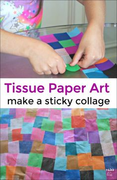 Tissue paper crafts are a great way for kids to do a fun art activity. Learn how to make a colorful sticky collage with tissue paper!