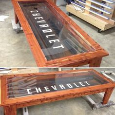 Old Chevrolet Tailgate turned into a coffee table - By Godfrey's Custom Cabinets