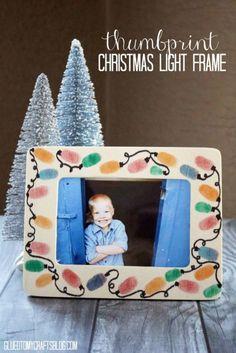 Thumbprint Christmas Light Frame - Kid Craft Idea
