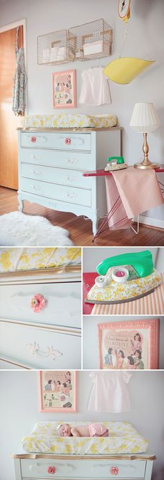 The white color and new knobs make this baby changing dresser work for today!  Be inspired - http://www.pinterest.com/corescuedrelics/
