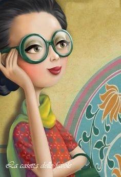quenalbertini: Green glasses by Nina de San Marquis, Monica Crema, Movie Theater Snacks, Baby Boy Hairstyles, Creation Photo, Whimsical Art, Cute Illustration, Cartoon Art, Clipart