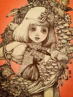 Some Yuko Higuchi Love. Ink Illustrations, Graphic Illustration, Mother Art, Fairytale Art, Illusion Art, Whimsical Art, Dark Art, Female Art, Cute Art
