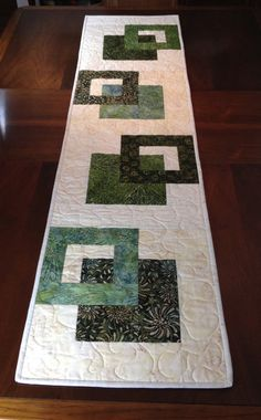 Modern Batik Table Runner, Handmade Green Quilted Tablerunner, Green Cream Wallhanging, Reversible Table Quilt, Contemporary Dining Decor - New Deko Sites Patchwork Table Runner, Table Runner And Placemats, Table Runner Pattern, Quilted Table Runners, Modern Table Runners, Contemporary Table Runners, Plus Forte Table Matelassés, Table Orange, Quilted Table Toppers