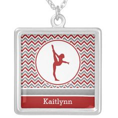 Red Chevron Gymnast Personalize Square Necklace