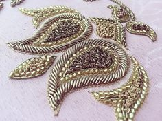 Details Dabka and cutdana embroidery for a custom order Zardosi Embroidery, Bead Embroidery Patterns, Tambour Embroidery, Hand Work Embroidery, Gold Embroidery, Embroidery Fashion, Embroidery Stitches, Embroidery Designs, Crazy Quilting