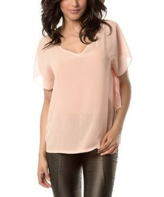 This Salmon Sheer V-Neck Top is perfect! #zulilyfinds