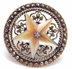 LARGE 19TH C ANTIQUE PIERCED BRASS CARVED PEARL STAR FACETED STEELS BUTTON #140