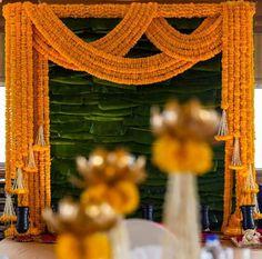 Desi Wedding Decor, Wedding Stage Decorations, Wedding Mandap, Engagement Decorations, Backdrop Decorations, Goa Wedding, Backdrops, Wedding Entrance, Entrance Decor