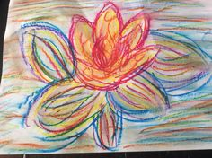 I had fun trying out my oil pastels, and decided one of the things I'd draw was a water lily