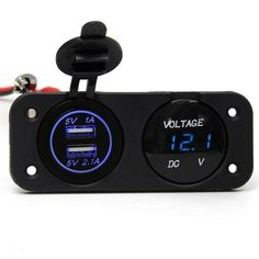 Car Charger Dual USB Port LED Digital Display Voltmeter Waterproof. Car Charger Dual Usb Port Led Digital Display Voltmeter Waterproof    feature:  usb Outlet 5v Up To 2.1a.  short Circuit / Overheat Protection.  waterproof Protective Caps And Usb Cover.  multifunctional Product With Blue Led Indicator Light, Perfect For Travel Use.  waterproof Dustproof Material Can Be Used For The Interior And Exterior Application.  can Be Installed Vertically, Horizontally Or Underneath The Dash, Or Any…