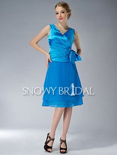 Blue V-Neck Tiered Chiffon Short A-Line Mother of Bride Dress - US$ 89.99 - Style M1518 - Snowy Bridal