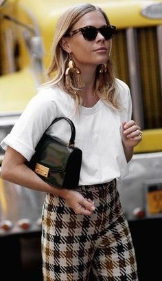 White tee with plaid pants, gold statement earrings, and a satchel bag // Fall outfit ideas