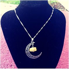 "Moon Necklace Pretty moon pendant with natural yellow citrine crystal. Moon pendant is about 1 1/2"" in length. Chain is 16"" and sterling 925. New in package. Jewelry Necklaces"