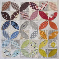 Love that it looks like a design sitting on top of the day's paper    Displacement Activity Scrappy Quilts, Mini Quilts, Baby Quilts, Quilting Tutorials, Quilting Projects, Quilting Designs, Quilt Design, Quilting Ideas, Low Volume Quilt