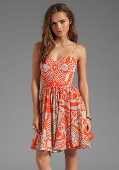 MILLY Mosaic Print Silk Gemma Strap Dress in Kumquat - New