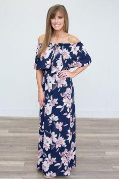 Spring Fever Floral Maxi Dress - Navy - Magnolia Boutique