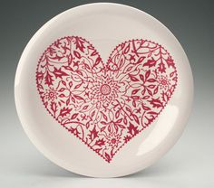 Heart Plate 10 Hand Painted Floral Pattern Red and White Dinnerware
