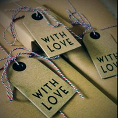 East of India Gift Tags, Airmail Bakers Twine and Brown Paper Wrapping - presents for bridal party