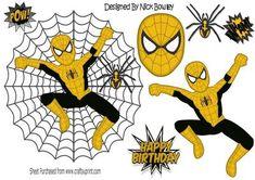 Black gold spiderman in spider web with spider A4 on Craftsuprint - Add To Basket!