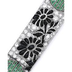 Art Deco Platinum, Diamond, Onyx and Emerald Bracelet, Lacloche Frères, France | lot | Sotheby's