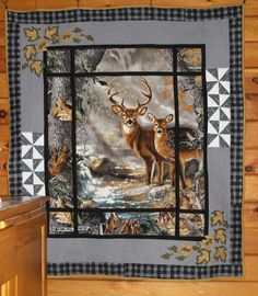 deer in the window panel quilt made by Heathr MK OWLBEESEWIN@BLOGSPOT.COM