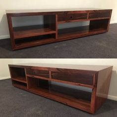 Tv unit made from solid Jarrah timber with push to open drawers