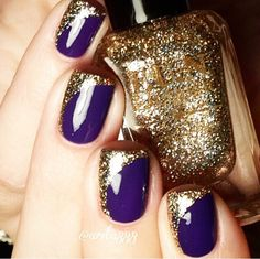 Dark purple/ blue & gold glitter rounded nail polish tip design