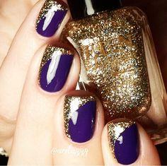 Dark purple/ blue & gold glitter rounded nail polish tip design