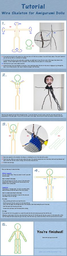 Tutorial: Wire Skeleton For Amigurumi Dolls ༺✿ƬⱤღ  https://www.pinterest.com/teretegui/✿༻
