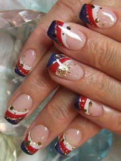 Nautical/patriotic nails