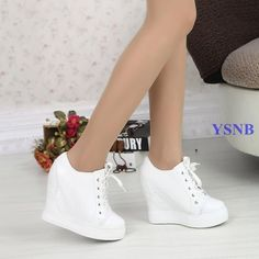 Fashion Women Lace Ups Sport Sneakers Shoes 12Cm Hidden Wedges High Heels Casual