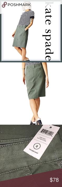 NWT Kate Spade Trouser Pencil Skirt ➖NEW WITH TAG  ➖BRAND: Kate Spade Saturday  ➖SIZE: 0  ➖STYLE: Cotton Trouser Skirt in military green - cotton skirt with a small slit in the front - belt loops all the way around: side pockets and a zip fly front closure.  ➖MATERIAL : 98% cotton 2% spandex   ❌NO TRADE       Entropycat kate spade Skirts Pencil