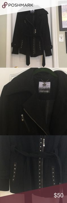 Kensie Wool Studded Moto Peacoat Excellent used condition Kensie peacoat. Studded, belted, oversized collar. I cut the tag out but it's a size 12, tts. Could use a dry clean but otherwise perfect. Looks cute zipped and belted and open! Kensie Jackets & Coats