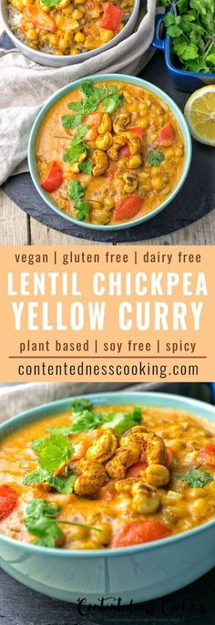 This Lentil Chickpea Yellow Curry is vegan and gluten free and you can make it with just 6 ingredients in 2 easy steps. Get ready for the most incredible, delicious plant-based meal.