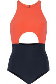 Vera cutout two-tone swimsuit