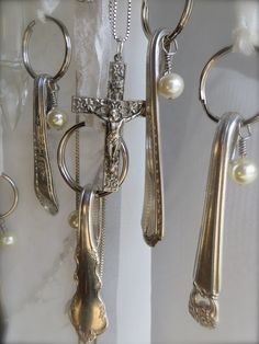 Vintage Cutlery Key Rings - great ideas for using silver flatware to make these!  They're so creative and each piece is unique.  Petite Michelle Louise