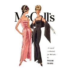 Pauline Trigere Evening Gown Dress Pattern McCalls 6033 1960s Womens Vintage Sewing Pattern Sheath Dress and Stole