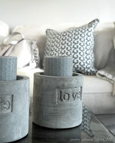 .love concrete candle holders