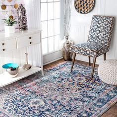 nuLOOM Distressed Vintage Faded Floral Rug (5' x 7'5) (Blue), Size 5' x 8'