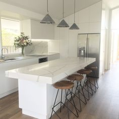 Polyurethane Kitchen with Stone Benchtops and Splashback Stone Benchtop Kitchen, Kitchen Cupboard Doors, Custom Kitchens, Splashback, Joinery, Kitchen Design, Kitchen Ideas, Building A House, New Homes