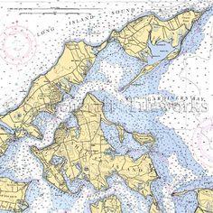 New York - Greenport, Shelter Island, Gardiner's Bay / Nautical Chart Decor Wooden Serving Trays, Shelter Island, Nautical Chart, Coastal Homes, Beach Cottages, Long Island, Coaster Set, Decorative Items, Rum