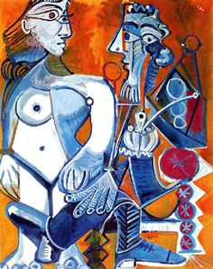 """""""Standing female nude and man with pipe"""".Artist: Pablo Picasso Completion Date: 1968 Style: Surrealism Period: Later Years Genre: genre painting. Pablo Picasso, Kunst Picasso, Art Picasso, Picasso Paintings, Spanish Painters, Spanish Artists, Henri Matisse, Cubist Movement, Georges Braque"""