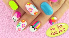 DIY Nail Art Without any Tools! 5 Nail Art Designs - DIY Projects. In this DIY Nails video I show how to create 5 easy but cute nail designs. I used only a default nail polish brush to make them and a toothpick for mouse's eyes. Enjoy! :)