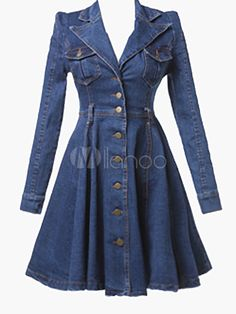 Hot Plus Size Fashion Women Denim Dress Deep V Jean Shirt Sweet Denim Dress . Womens Denim Dress, Denim Shirt Dress, Denim Outfit, Stylish Dresses, Cheap Dresses, Casual Dresses, Fashion Dresses, Denim Dresses, Skater Dresses