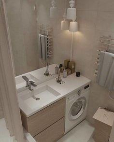 Как разместить стиральную машину максимально практично. | OK.RU Bathroom Sink Design, Bathroom Design Luxury, Laundry Room Design, Home Room Design, Home Interior Design, Small Toilet Room, Small Bathroom With Shower, Narrow Bathroom, Laundry In Bathroom