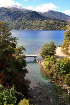 Bridge and Lake Correntoso, Lanin National Park. Neuquen, Argentina.