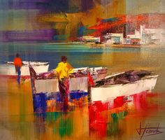 Beautiful Abstract Palette Knife Paintings by Josep Teixido - Fine Art and You - Painting Seascape Paintings, Colorful Paintings, Abstract Painters, Abstract Art, Boat Art, City Painting, Palette Knife Painting, Nautical Art, Rainbow Art