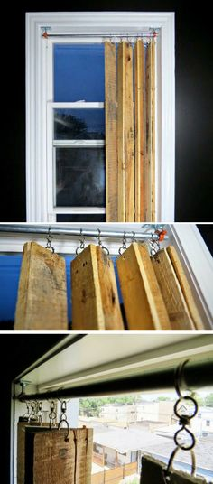 Pallet vertical window blinds - Cute DIY Window Decorating Ways Sure To Amaze Yo. - Home Decor Ideas Vertical Window Blinds, Blinds For Windows, Diy Window Screens, Modern Windows, Wood Windows, Diy Windows, Recycled Furniture, Pallet Furniture, Lace Window