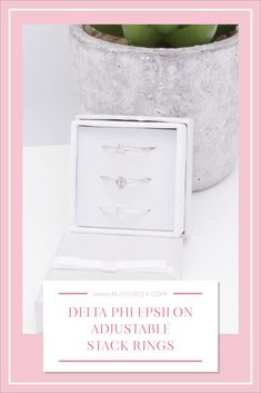 Sorority stack rings are the easiest gift for any celebration: Recruitment, Bid Day, Back to School & Big/Little. Spoil your new sorority girl with adjustable Greek letter stack rings! Delta Phi Epsilon Gifts   Delta Phi Epsilon Bid Day   DPhiE Rings   Delta Phi Epsilon Jewelry   Sorority Bid Day   Sorority Recruitment   Sorority Jewelry Gifts   Sorority College Gift   Sorority New Member Gift Ideas #SororityGifts #SororityJewelry College Sorority, Sorority Bid Day, Sorority Recruitment, Sorority Gifts, Eastern Michigan University, Bid Day Themes, Sigma Tau, College Gifts